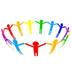 colorful icon - people in circle vector image