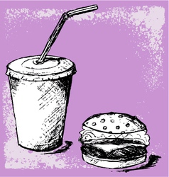 Big hamburger and soda vector image vector image
