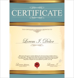 Blue certificate template vector image vector image