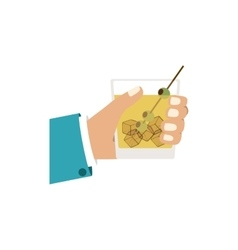 Colorful silhouette with left hand and drink vector