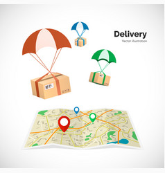 Delivery service parcels fly to the destination vector