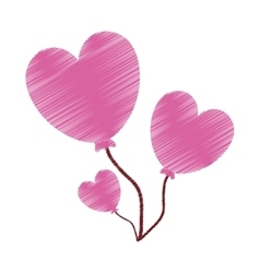 Drawing love heart balloons valentine vector