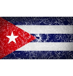 Flags cuba with broken glass texture vector