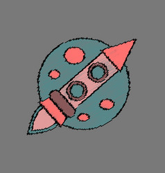 Flat icon design collection space rocket and moon vector