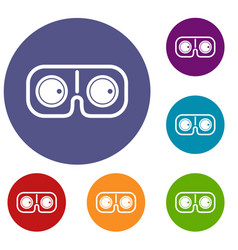 game glasses icons set vector image vector image