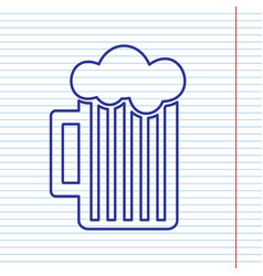 Glass of beer sign navy line icon on vector