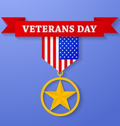Golden award with veterans day text on banner usa vector