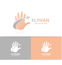 hand and plane logo combination arm and vector image vector image