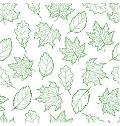 Leaves seamless outline green light vector