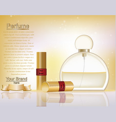 Makeup cosmetics and perfume ads template gold vector
