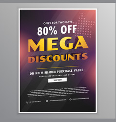 Mega discounts sale flyer design template with vector