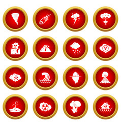 Natural disaster icon red circle set vector
