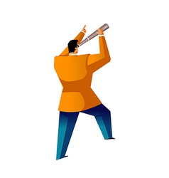 Rear view of man holding telescope vector image
