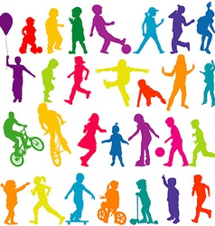 Set of colored silhouettes of active children vector image vector image