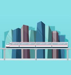 Skytrain subway on backdrop city vector