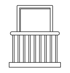 small balcony with window icon outline style vector image vector image