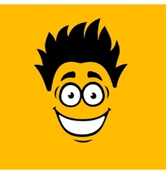 Smiling Cartoon Face on Orange Background vector image vector image