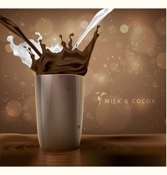 splashes of milk with cocoa and chocolate vector image vector image