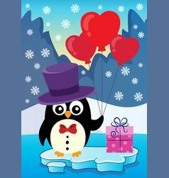 valentine penguin topic image 3 vector image