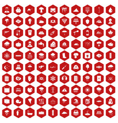 100 thunderstorm icons hexagon red vector