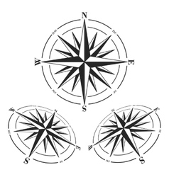 Compass roses set isolated on white vector