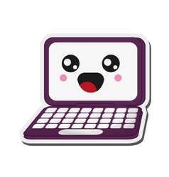 Kawaii laptop icon vector