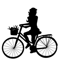 The girl on the bike vector