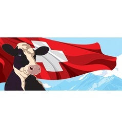 Cow and swiss flag vector