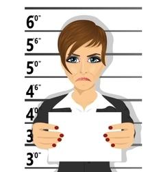 Arrested businesswoman posing for mugshot vector
