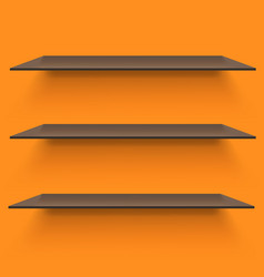 Empty shelves on light orange background vector