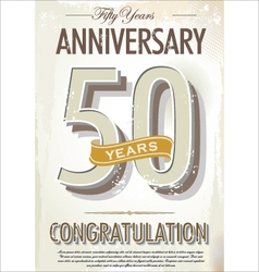 50 years anniversary retro background vector