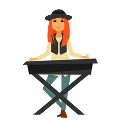 Stylish redhead girl plays electric piano isolated vector