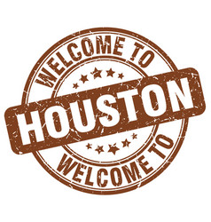 Welcome to houston brown round vintage stamp vector