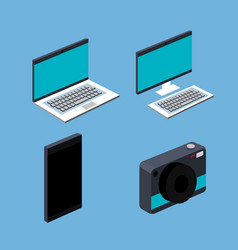 Laptop computer cell smart phone camera set blue vector