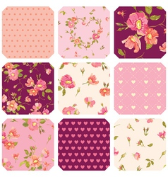 Patchwork with roses background vector