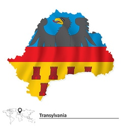 Map of transylvania with flag vector