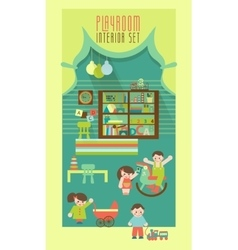 Playroom interior flat vector