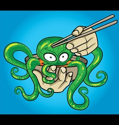 Asian exotic octopus soup and chopsticks vector