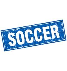 soccer blue square grunge stamp on white vector image