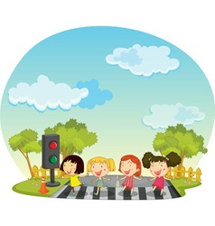 Children crossing the street vector