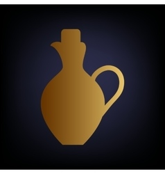 Amphora sign golden style icon vector