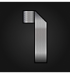 Number metal chrome ribbon - 1 - one vector