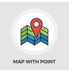 Map with point flat icon vector
