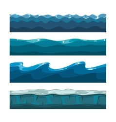Cartoon ocean sea water waves seamless vector