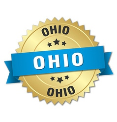 Ohio round golden badge with blue ribbon vector