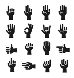 Hands icons set finger counting stop gesture vector