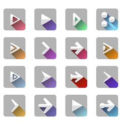 Arrow elements icon symbol colorful long shadow vector image vector image