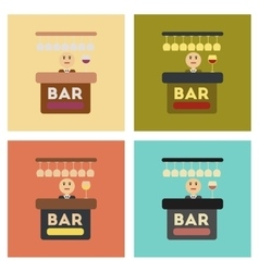 assembly flat icons icon poker bar bartender vector image vector image