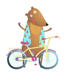 Baby teddy bear character with bicycle cute sport vector
