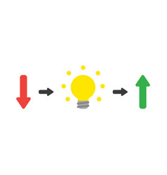 Concept of arrow pointing down with light bulb vector